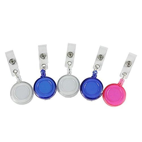 Haodou 5 Stück Versenkbare Abzeichen Schlüsselrollen mit Gürtelclip für ID-Abzeichen, Gürtelschlaufe und Schlüsselring Kabel Verlängern Länge Ca 40-50 cm(Zufällige Farbe)