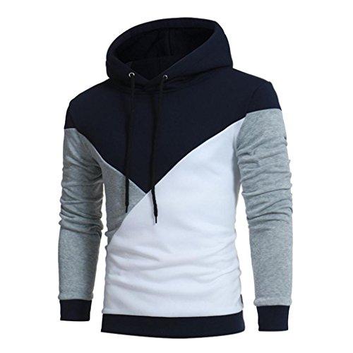 Pullover Herren Sunday Langarm Patchwork Hoodie Kapuzen Sweatshirt Oberteile Jacke Freizeit Outwear (Grau, XL)