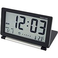 EASEHOME Reloj Despertador Digital de Viaje, Portátil Relojes Despertadores Digitales Repetición Snooze Reloj Alarma Silencioso con Temperatura Calendario Incluye Bolsa de Cuero, Negro