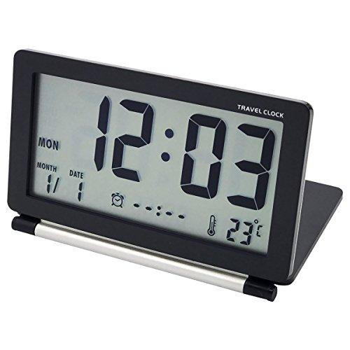 Easehome sveglia digitale portatile da viaggio, orologio elettronica pieghevole sveglie da comodino calendario temperatura snooze sveglia batteria silenziosa con borsa di pelle, nero
