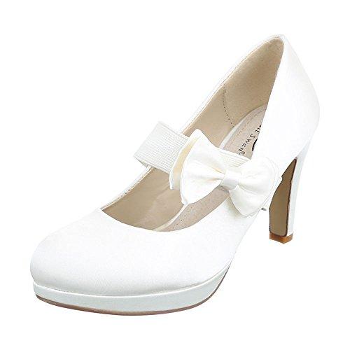High Heel Damenschuhe Plateau Pfennig-/Stilettoabsatz High Heels Ital-Design Pumps Creme
