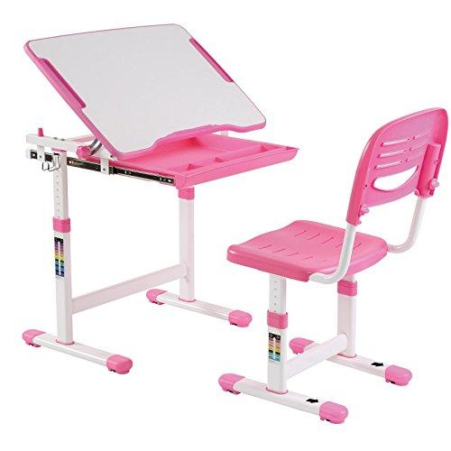 IDIMEX Kinderschreibtisch ALUMNO mit Stuhl und Schublade, Schreibtisch für Kinder und Schüler Schülerschreibtisch Set, höhenverstellbar, inklusive Stuhl, pink rosa