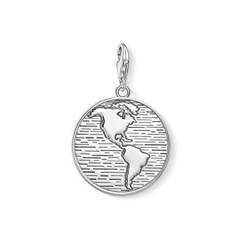 THOMAS SABO Unisex Charm-Anhänger Coin Welt 925er Sterlingsilber, Geschwärzt 1713-637-21