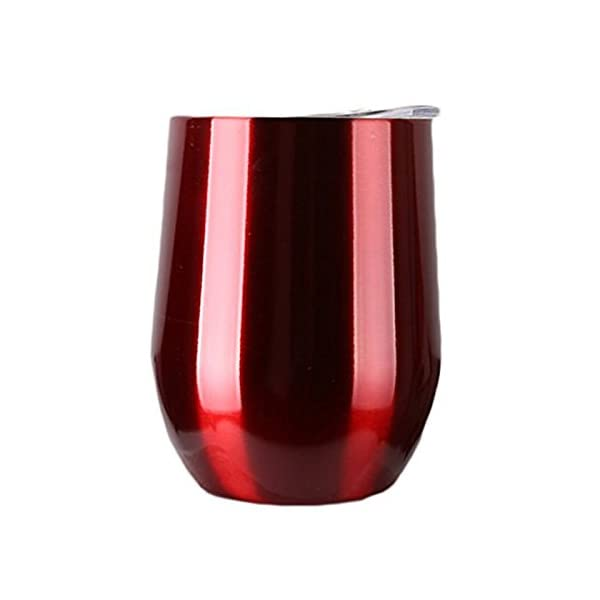 9 OZ Stainless Steel Wine Cup with Lid, Double-Walled Vacuum Insulated Wine Tumbler BPA Free for Bar Party Wine Cocktail…