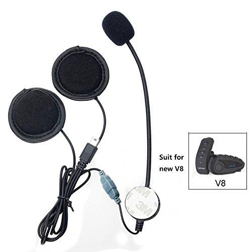 Motorrad-Helm Kommunikationssystem, Mikrofon, Kopfhörer, Kabel, Headset und Clip, Zubehör für V8mit 10-poligem Mini-USB-Anschluss, Bluetooth, Interphone, Motorrad-Intercom (Ersatz-audio-helm-lautsprecher)