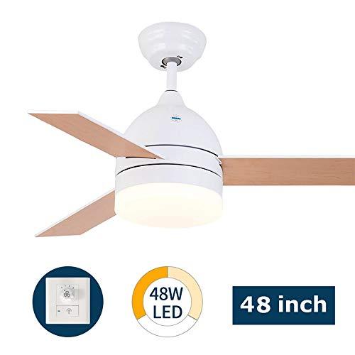 GaoHX Moderno Ventilador de Techo con luz LED 48W, 3 Aspas, 60...