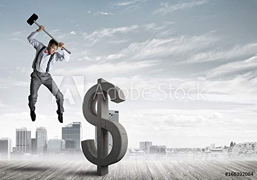 druck-shop24 Wunschmotiv: Determined Banker Man Against modern Cityscape Breaking Dollar Concrete Figure #166392084 - Bild auf Leinwand - 3:2-60 x 40 cm / 40 x 60 cm