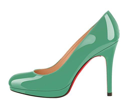 Guoar High Heels Geschlossene Toe Damen Pumps Lack Rutsch Stiletto Plateau Büro-Dame Club Party Hochzeit Grün