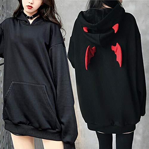 Dastrues Women Demon Wings Hoodie Loose Sweatshirt Punk Gothic Long Sleeve Tops Casual