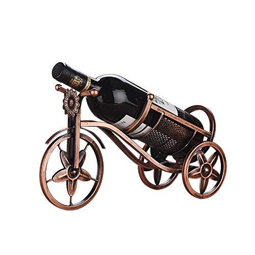 Unbekannt YF Europäische Weinflaschenhalter Eisen Weinregal Kreative Dekoration Weinregal Retro-tischplatte Wein Racks Moderne Wohnzimmer Dreirad Wein Rack Bronze Lange33.5CM*Breite12CM*Hoch19.5CM -