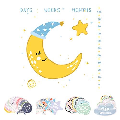 Youliy Wickeltuch für Monatsalter, Mond- und Boot-Muster, Hintergrund für Babywachstum