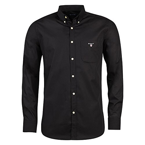GANT Camisa Casual da Uomo, Nero, Medium