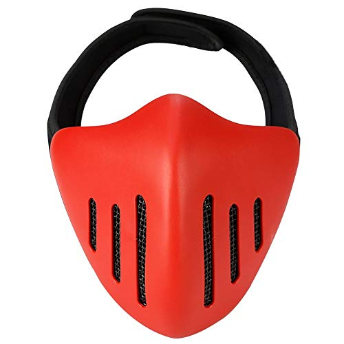 WLXW Airsoft Paintball Tactical Half Mask, Glory Knight-Schutzmaske, Cosplay Demon Monster, Masquerade-Ball/Halloween/Party/CS-Kriegsspiel/BBS,Red