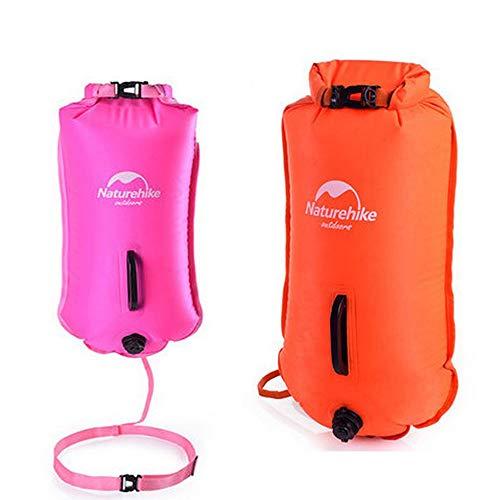 Boya de natación: flotadores de seguridad para la natación y bolsas de secado para nadadores de aguas abiertas, kayaks y buzos, boyas altamente visibles para un entrenamiento seguro de natación 2pcs