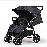 QZX Leichter doppelter Kinderwagen 5-Punkt-Sicherheitssystem, 3-stöckige, verlängerte Kabinenhaube für UV-Schutz, unabhängig voneinander liegende Sitze, Easy Fold, grau/schwarz,Gray