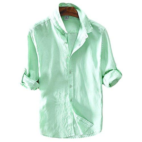Icegrey camicia uomo camicie di lino a maniche lunghe camicie da spiaggia verde 56