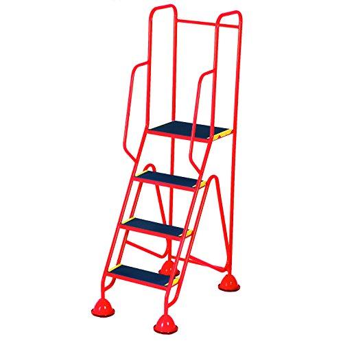 Praktische Panda ws514_ Rot Fort Kuppel Füße 4Schritt mit Full Handlauf in Anti-Rutsch Trittflächen, rot