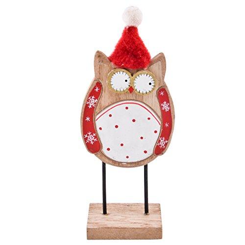 Eule Winter Design Deko Figur Holz natur rot Weihnachten Xmas (16x7x4cm)