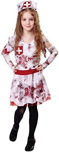 Fancy Me Mädchen Zombie Krankenschwester Uniform Rettungsdienste Job Beruf Halloween Horror Süß Unheimlich Kostüm Kleid Outfit 4-12 Jahre - 10-12 years