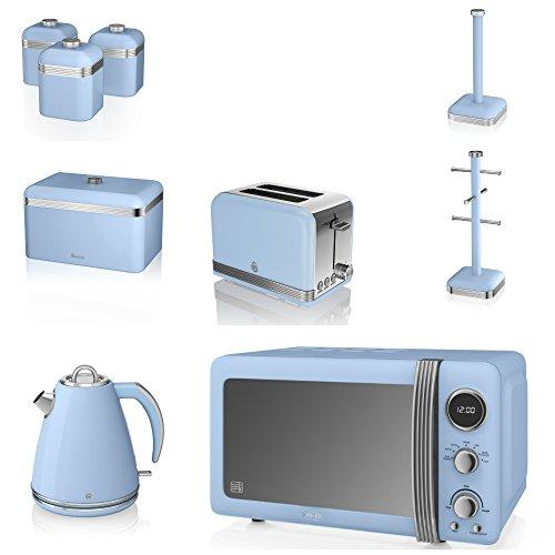 Swan Blue Kitchen Appliance Retro Set Of 9 - Blue Retro Digital Microwave, 20 Litre, 800 Watt, 1.5 Litre Jug Kettle & Retro Stylish 2 Slice Toaster Retro Bread Bin, 3 Canisters, Towel Pole And 6 Mug Tree Set