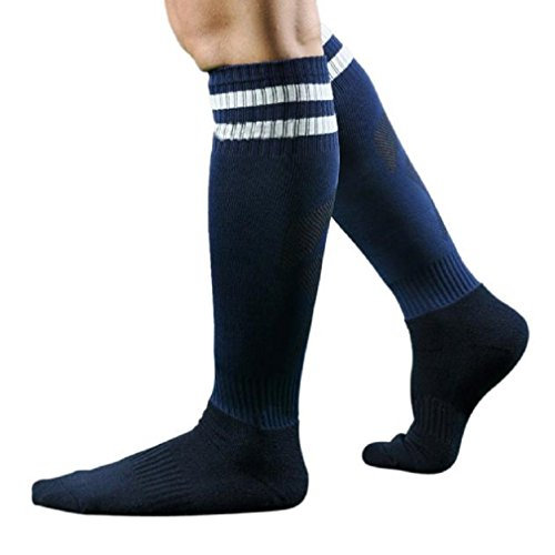 ESAILQ Herren Männer Sport Fußball Lange Socken Striped Socks High Sock Baseball Hockey Sock (Dunkelblau) (Dunkelblau-fußball-socken)