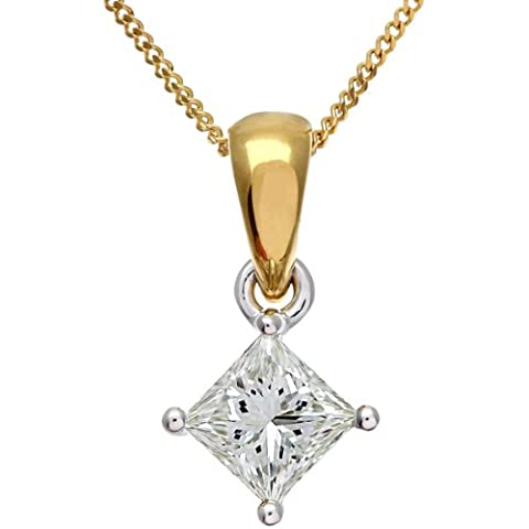 Naava Women's 18 ct Yellow Gold Solitaire Pendant + Chain, J/SI Certified Diamond, Princess Cut, 0.75ct