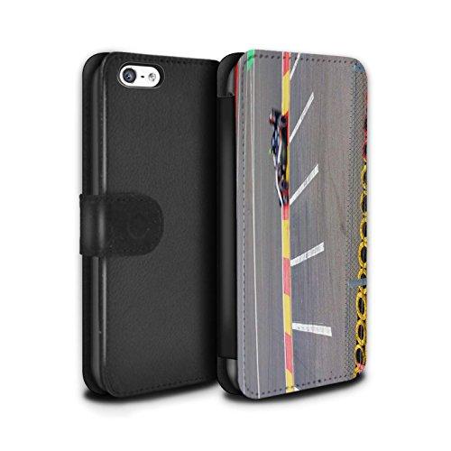 Stuff4 Coque/Etui/Housse Cuir PU Case/Cover pour Apple iPhone 5C / Pneus/Barrière Design / Piste Course Photo Collection Voiture Course