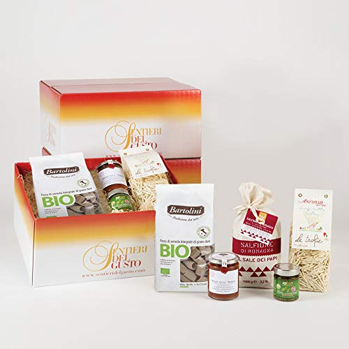 """""""WE Love Pasta Gift Box"""" 100%Made in Italy Healthy Recipe with Liguria Pasta Trofie,""""Genovese"""" Pesto,Whole Wheat Pasta,Norma Sauce and Romagna Salt,Gift Idea & Cooking Box bySENTIERI DEL Gusto"""