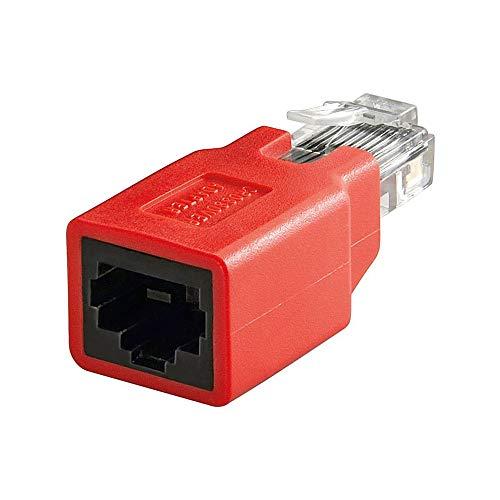 Goobay 68912 RJ45 Crossover Adapter, Rot, CAT 5e, RJ45-Stecker (8P8C) auf RJ45-Buchse (8P8C) -