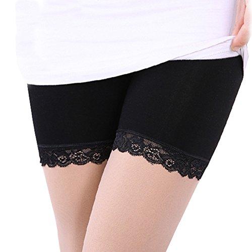 AchidistviQ Frauen Farbe Spitze Sommer Bambus Faser Sicherheit Shorts Unterwäsche Unterhosen, Schwarz, XL -
