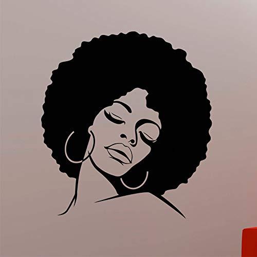 Afrikanische Frau Wandtattoo Afro Hippie Mädchen Gesicht Vinyl Aufkleber Home Interior Dekorationen Glamour Beauty Hair Salon Decor 57X63CM