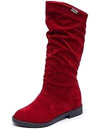 Botines Mujer, K-youth® Botas para mujer Mujer alta pierna plana botas de gamuza zapatos