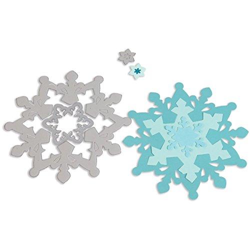 Sizzix Framelits Fustelle Set di 3 Pezzi, Fiocchi di Natale, Acciaio inossidabile, Bianco, 0.86x15.8x25.2