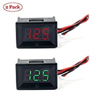 """Jolicobo 2PCS 0.36"""" LED DC Voltage Meter Panel 2.4-30V 2 Wire with Head Housing Digital Voltmeter Electric Gauge Accuracy Volt Monitor Tester, Red, Green Display"""