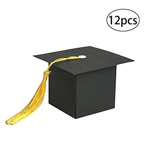 TOYMYTOY 12pcs Doctoral Cap Boxen Papier Süßigkeiten Treat Box für Graduation Party Geschenk-Boxen (schwarz) (Hut Graduierung Box)