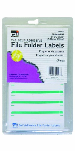 Charles Leonard Inc File Folder Labels, 0,56 x 3,43 mm, grün, 248/Box (45225)