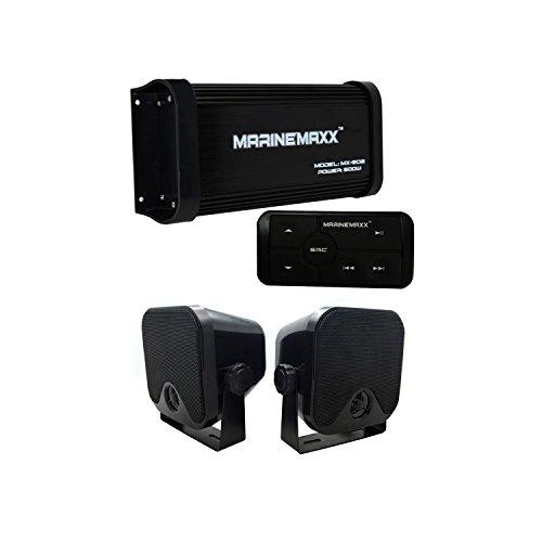 Marino Bluetooth Amplificador 500vatios 4canales + 1par Marine altavoces de caja para universali coche/barco/RV/coche/moto/Casa...