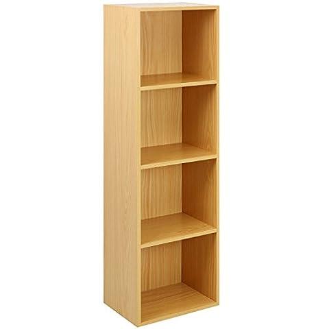 Beech Finish 4 Shelf Wooden Bookcase