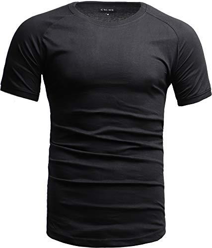 Crone Cuba Basic Herren Kurzarm Rundhals T-Shirt Custom Fit in vielen Farben Vegan (L, Schwarz) - Custom Fit T-shirt