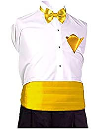 Sendmart Plain Mens Cummerbund, Bow & Pocket Square