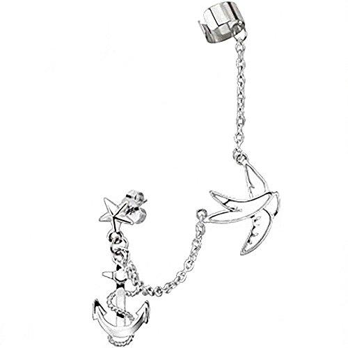 Piercingfaktor Damen Ohrstecker Ohrklemme Ear Cuff mit Ketten Anker Taube Anhänger Stern Lang Silber Ohrringe