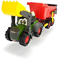 Dickie Toys 203819002Happy Farm, Jouets Tracteur avec remorque pour bébé, avec Fonction Son et lumière, 65cm