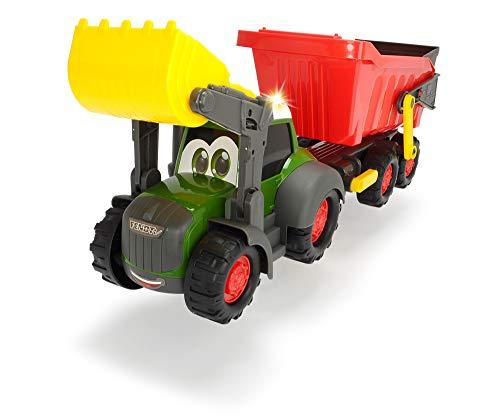 Dickie Toys 203819002 Happy Farm Trailer, Spielzeugtraktor inkl. Anhänger für Kleinkinder, mit Licht-und Soundfunktion, 65cm
