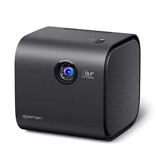 Beamer APEMAN Mini Beamer 1080P Full HD Unterstützt LED 540G DLP Mit Bluetooth Lautsprecher Tragbarer Pocket Projektor Btterie Eingebauter 30000 Stunden iOS/Android HDMI Heimkino Party Mehrweg
