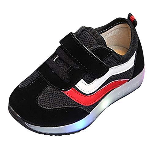 SunGren Malla de Rayas Zapatillas Zapatos para Bebés Zapatos de bebé Zapatillas de Deporte Transpirables Antideslizante para Niña Niño by (Negro,EU:26.5)