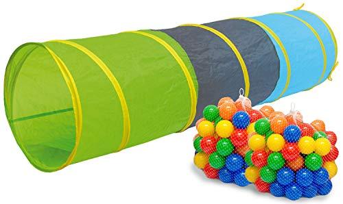 LittleTom Tenda a Tunnel 180x46cm Giocattolo per Bambini Piccoli con 200 Palline