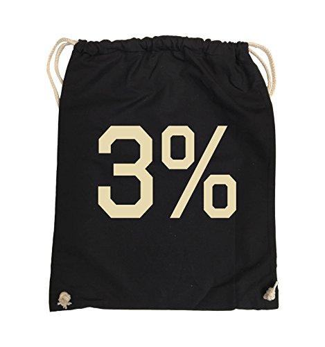 Comedy Bags - 3% - LOGO - Turnbeutel - 37x46cm - Farbe: Schwarz / Pink Schwarz / Beige