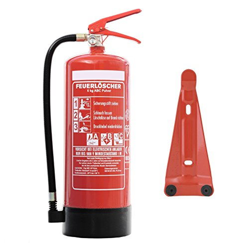 Feuerlöscher 6kg ABC Pulverlöscher mit Manometer EN 3 + ANDRIS® Prüfnachweis mit Jahresmarke &...