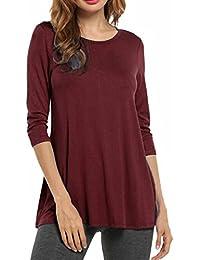 2f4018b1b653 HOTOUCH Damen Bluse Tunikabluse Beiläufige Shirt 3 4 Ärmel Basics Shirt  Longshirt Bluse Rundhalsausschnitt