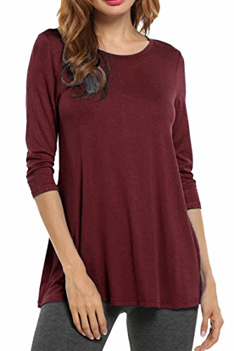 HOTOUCH Damen Bluse Tunikabluse T-Shirt Tunika Stretch Basic Shirt Top Weinrot XXL (Damen-city-stretch-shirt)
